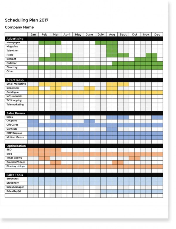 Marketing Scheduling Plan Template
